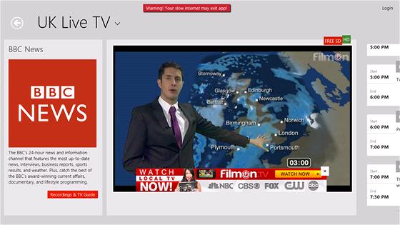I aplikaci Filmon.tv lze používat v režimu rozdělené obrazovky.