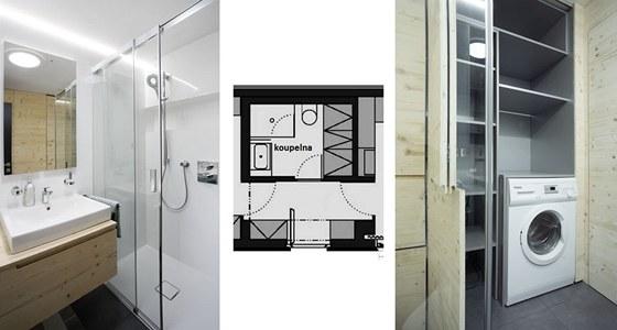 Příklad dobře vyřešené malé koupelny s WC a pračkou ve Freedomku. Umyvadlo má