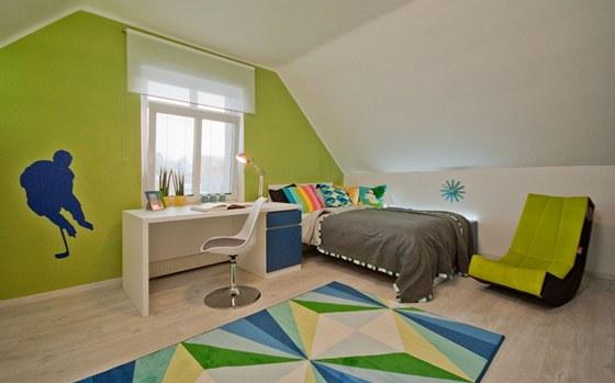 Jako doplňková byla na jedné stěně zvolena zelená barva.