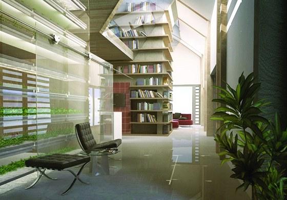 Interiér domu - ve středu jsou atrium pro pěstování rostlin a nosné jádro s