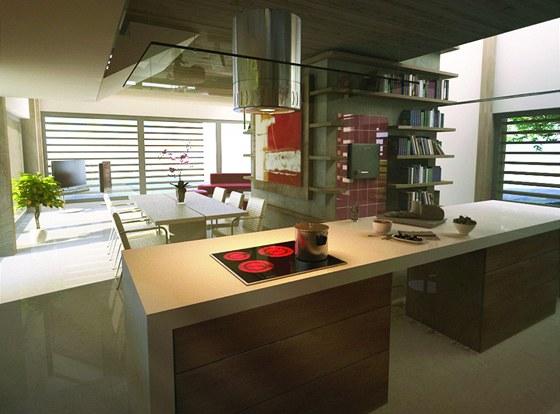 Interiér domu - ve středu je nosné jádro s kachlovými kamny a kuchyní.