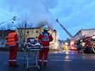 Následky tragického požáru v německém Backgnangu (10. března 2013)