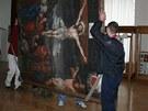 V Mikulově instalovali nově zrestaurovaný obraz Ukřižování z kaple sv.
