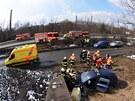 Tragická nehoda v Ostravě nedaleko hutí ArcelorMittal (v pozadí). (16. března