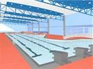 Vizualizace vnitřního prostoru krytého bazénu v Brušperku.