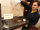 Organizátor výstavy Petr Hamrozi u citery, která je jedním z hudebních nástrojů...
