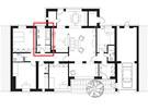 Půdorys koupelny 1: rozmístění sanity odpovídá větší rodině: vana a sprcha v