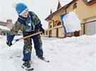Odklízení nové nadílky sněhu na Pardubicku.