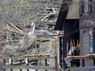 Skalní masiv který se zřítil v Táboře v bezprostřední blízkosti silnice na