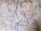 Výjev z gotické fresky Posledního soudu v Broumově.