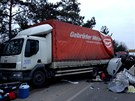 převrácený kamion na R10 u Staré Boleslavi