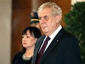 Prezident Milo� Zeman p�ijal na Pra�ském hrad� �leny diplomatického sboru. Na