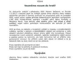 Dopis exsenátora Františka Kopeckého, kterým se snaží uklidnit spolustraníky na