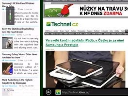 News Bento v režimu dělené obrazovky. Aplikaci lze stále plnohodnotně a