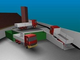 Vizualizace nov� n�jezdov� rampy v t�eb��sk�m p�ekladi�ti odpadu.