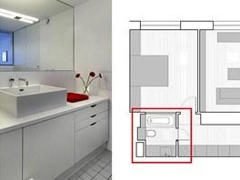 Nové řešení koupelny 6: sloučením obou místností vznikl příjemný prostor s