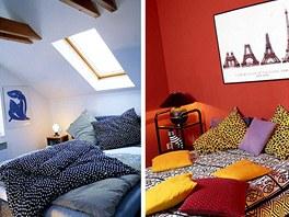 Srovnání podobného prostoru s uklidňující modrou a výraznou červenou na stěnách. Přílišná pestrost znepokojuje.