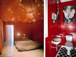 Červená barva je v interiéru velmi efektní, ale ve velké ploše po nějaké době začne dráždit, zvláště v místnosti určené k odpočinku. Na toaletě to vadit nemusí, ale i tady se barva omrzí.