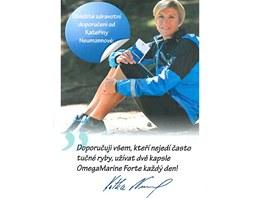 Reklamní leták s tváří bývalé úspěšné lyžařské reprezentantky Kateřiny