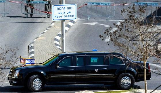Prezidentská limuzína Baracka Obamy v Izraeli (20. března 2013)