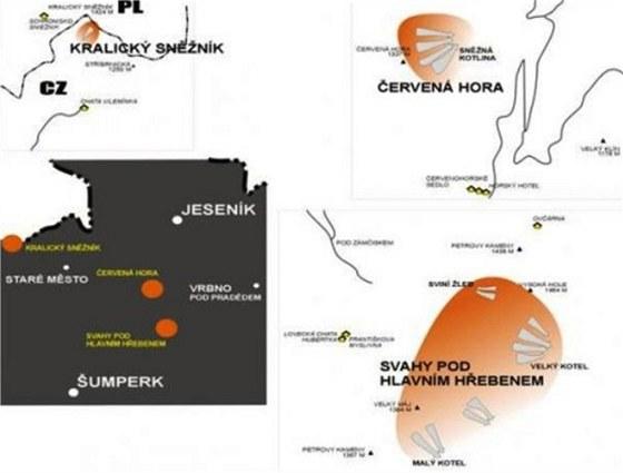 Znázornění lavinového nebezpečí, které je teď v Jeseníkách na třetím stupni z