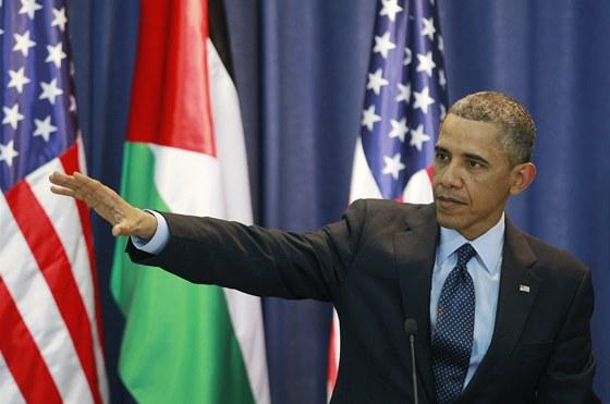 Americký prezident Barack Obama při projevu v palestinském Ramalláhu.