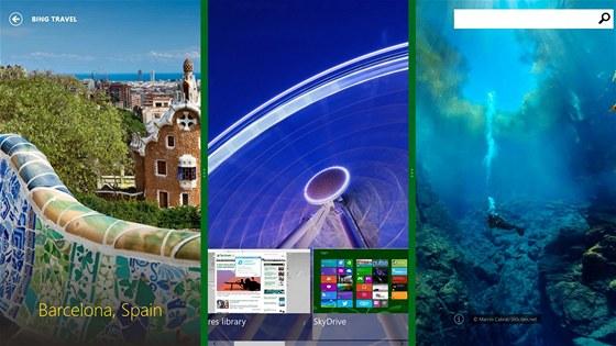 Ve Windows Blue lze rozd�lit plochu jedn� obrazovky na v�ce ��st a v jin�ch