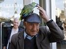 Kyperský stařík se svým papouškem před pobočkou Bank of Cyprus (28. března 2013)