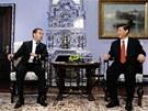 Si Ťin-pching a ruský ministerský předseda Dmitrij Medveděv
