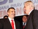 Prezident Milo� Zeman s kandid�tem na post p�edsedy Strany pr�v ob�an� Zde�kem