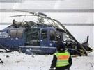 Policejní vrtulník, který se zřítil u berlínského olympijského stadionu.