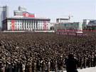 Severokorejci se sešli na náměstí Kim Ir-sena v Pchjongjangu, aby podpořili