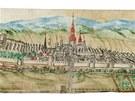 Pohled na město Broumov, jak jej nakreslil Johann Georg Adalbert Hesselius v