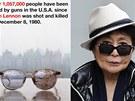 Yoko Ono bojuje proti zbraním také fotkou brýlí Johna Lennona, které měl, když
