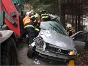 Těžce zraněnou řidičku dokázali hasiči z vozu rychle vyprostit, spolujezdkyně