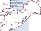 Mapa zajímavých míst v Beskydech.