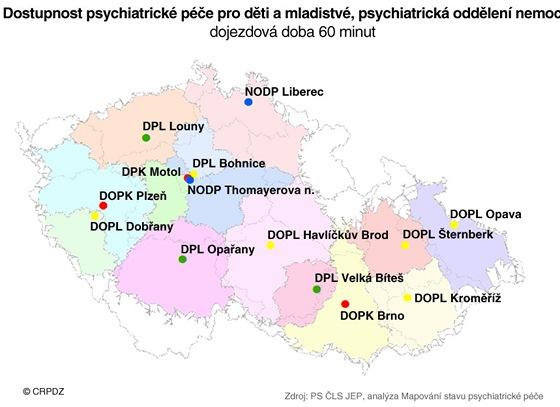 Dostupnost psychiatrických léčeben s péčí o děti a mladé lidi do 18 let