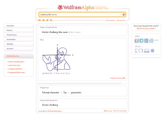 WolframAlpha umí od ruky nakreslit i Dr. Zoidberga