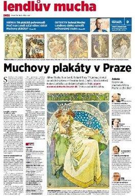 Tituln� strana speci�ln� p��lohy MF DNES k v�stav� Muchov�ch plak�t� v Obecn�m