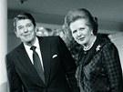 Britsk� premi�rka Margaret Thatcherov� s americk�m prezidentem Ronaldem