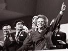 Britská premiérka Margaret Thatcherová přijímá ovace na konferenci