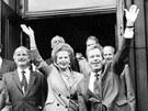 Margaret Thatcherová několikrát navštívila Prahu. Snímek je z její návštěvy 17.