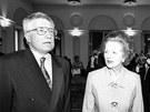 Margaret Thatcherová několikrát navštívila Prahu. Snímek je z její návštěvy 10.
