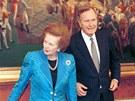 Margaret Thatcherová, George Bush a Michail Gorbačov při oslavě 10. výročí...