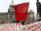 Na demonstraci Holešovské výzvy na Václavské náměstí dorazilo asi 200 lidí.
