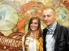 Marika Lendlová a Richard Fuxa na výstavě Muchových plakátů v pražském Obecním