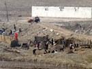 Severokorej�t� zem�d�lci na poli t�sn� u hranice (5. dubna 2013).