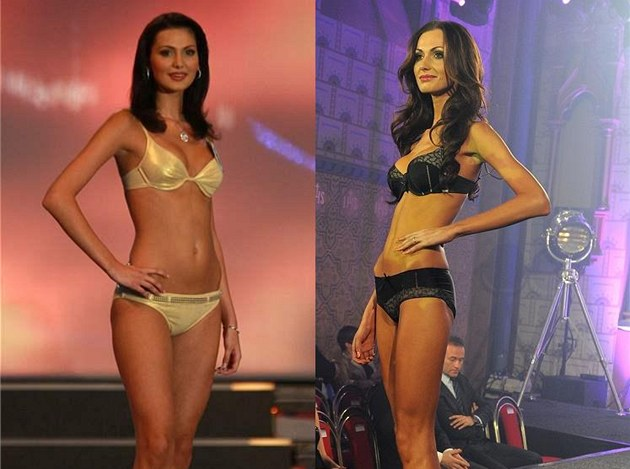 Elika Bukov&#225; v roce 2008, kdy vyhr&#225;la eskou Miss a v roce 2012.
