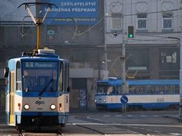 Tramvaje v centru Ostravy.