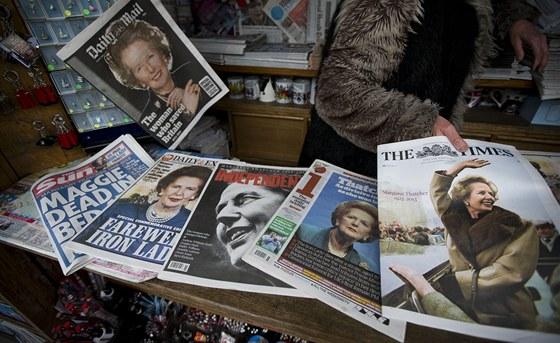 Zpráva o smrti Margaret Thatcherové na titulních stranách britských listů (9....